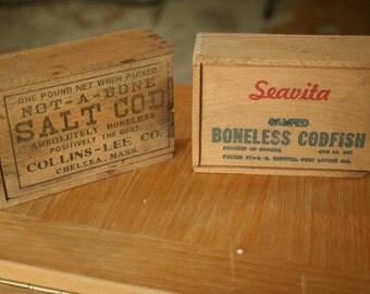 Dovetail Sliding Cover Wood Box Boneless Collins-Lee, Seavita, Salt Cod Fish Advertising Storage Box