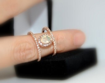 LAST 2 Minimalist Opal Engagement Ring, Rose Gold Vermeil, Cage Ring, Double Row Band Ring, Promise Ring, Open Frame, Final Sale