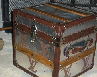 French Inspired Heavy Duty Metal Wood and Faux Leather Steamer Storage Chest Trunk