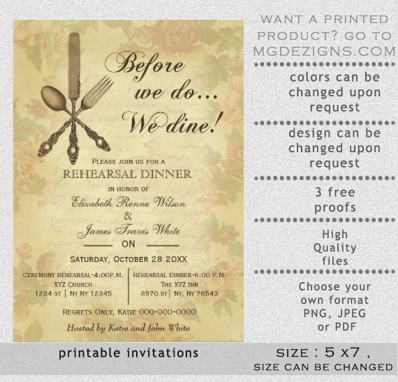 Gorgeous image pertaining to printable rehearsal dinner invitations