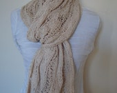 Knit Lace Scarf. Sale.Light Beige.Summer/Spring.Lace.Light.Wide.Long.Cotton.Woman.Ready to ship.