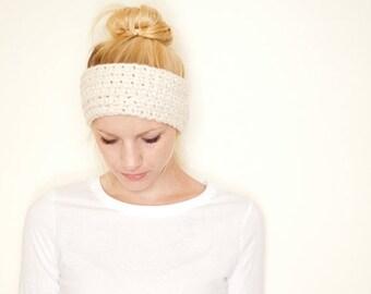 SUMMER SALE Crochet earwarmer headband - cream