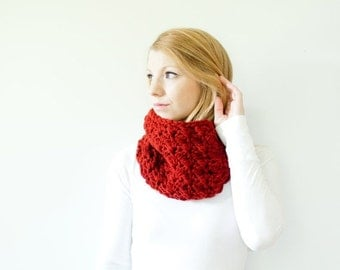 SUMMER SALE RTS - The Mallory - Semi Chunky Cowl Neckwarmer  Scarf - redwood - Wool Blend