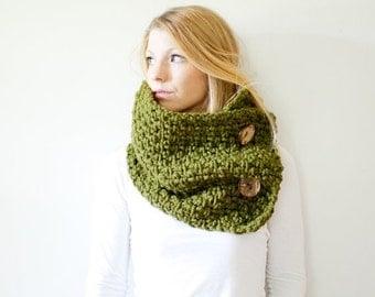 FALL SALE chunky crochet button scarf cowl - cilantro - wool blend - the PISGAH button
