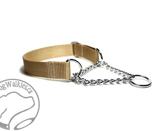 """Mix and Match Chain Martingale in 1"""" (25mm) Wide - Your Choice: Size and Color - Plain Nylon Chain Martingale Dog Collar"""