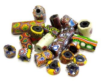 ANTIQUE: 19 Unique Rustic African Trade Beads - Venetian Millefiori Beads - (5-A1-00005214)