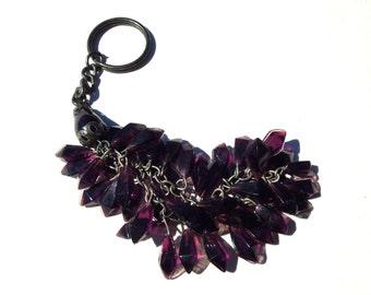 """VINTAGE: LARGE Beaded Purple Tassel Keychain - Key Tassel - 7"""" - (16-A1-00004532)"""