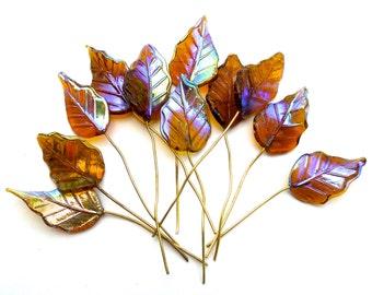 SUPPLY: 10 Large Dark Amber Glass Leaf Headpins - Embedded Brass Wire Glass Drops - (4-B3-00003403)
