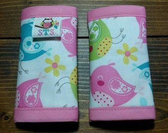 Reversible NEWBORN Car Seat Strap Covers Whimsical Spring Birds with Yellow Dimple Dot Minky Cuddle Baby Girl Accessories ITEM #210