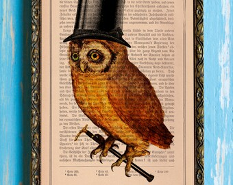 Putting On the Ritz Mini Adorable Owl Collage Print on an Unframed Upcycled Bookpage