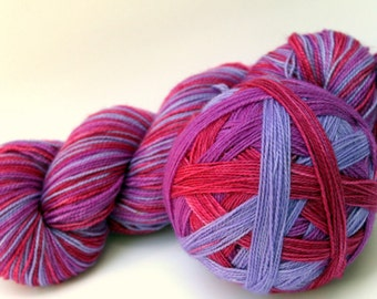 "Self Striping Sock Yarn, Superwash Merino, Nylon and Silver Stellina Fingering Weight, in ""Crape Myrtle"""