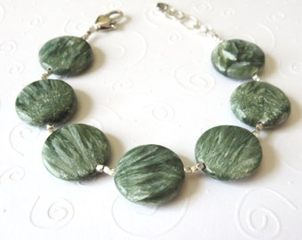 AAA Seraphinite and Sterling Silver Bracelet