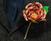 Handmade . paper . rose . buttonhole . wedding . groom . rustic . hipster . unique .