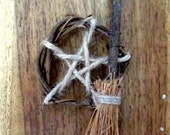 Rustic Pentacle & Besom Pagan Wiccan Amulet. Home Blessing. Protection. Car amulet. Handfasting gift.