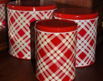 Red Plaid Nesting Tins, 1950s, Never Used
