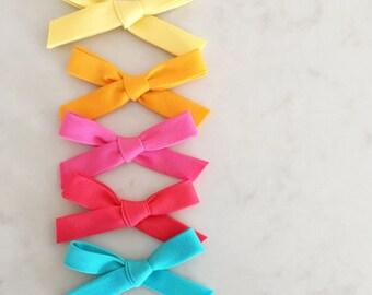 SALE - Cotton Hand Tied Bow - nylon headband or hair clip