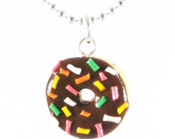 Rainbow rice donut necklace, Polymer clay necklace, Food jewelry, polymer clay food, Miniature Food, Donut Necklace, Food charms