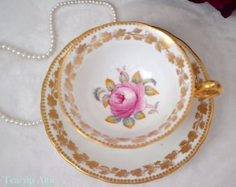 Royal Chelsea  Teacup And Saucer Set With Large Rose, English Bone China Tea Cup Set, Cabinet Teacup Set, ca. 1951-1961