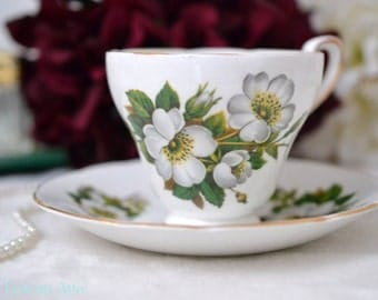 Delphine Dogwood Flowers Teacup and Saucer Set, English Bone China Tea Cup Set, Replacement China, Afternoon Tea Party, ca. 1941-1947