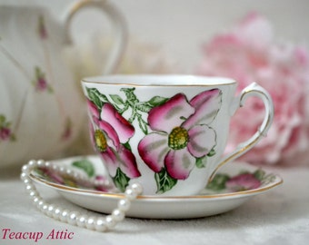 ON SALE Queen Anne Vintage Floral Teacup and Saucer Set, English Bone China Tea Cup Set Magnolia Pattern, ca. 1949