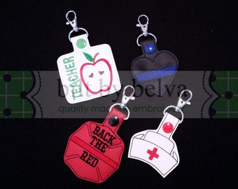 Bulk Gift Set Craft Show Filler Key Chain Fob Zipper Pull Luggage ID Bag Tag Snap Tab - Teacher, Firefighter, Police, Nurse