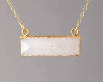 Rectangle Moonstone Stone Bezel Set Gold Necklace