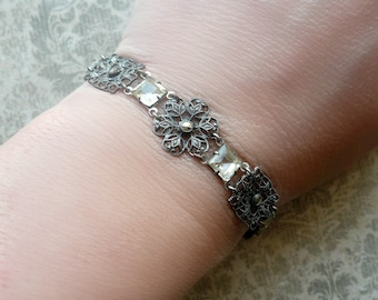 30% OFF Art Deco Bracelet - Vintage Silver Filigree Marcasite Bracelet - Paste Rhinestone Bracelet - Vintage Wedding - Bridal Bracelet