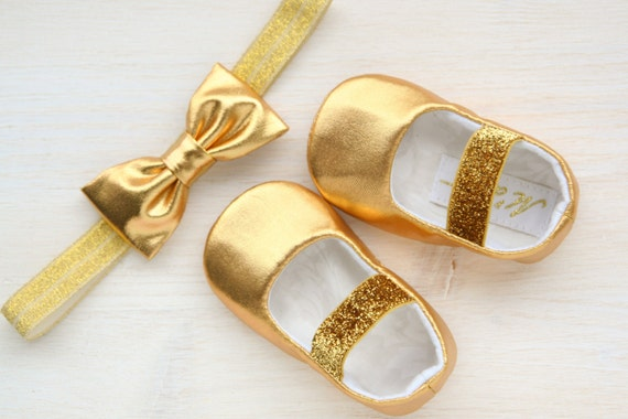 GOLD baby shoes gold glitter baby girl shoes and headband