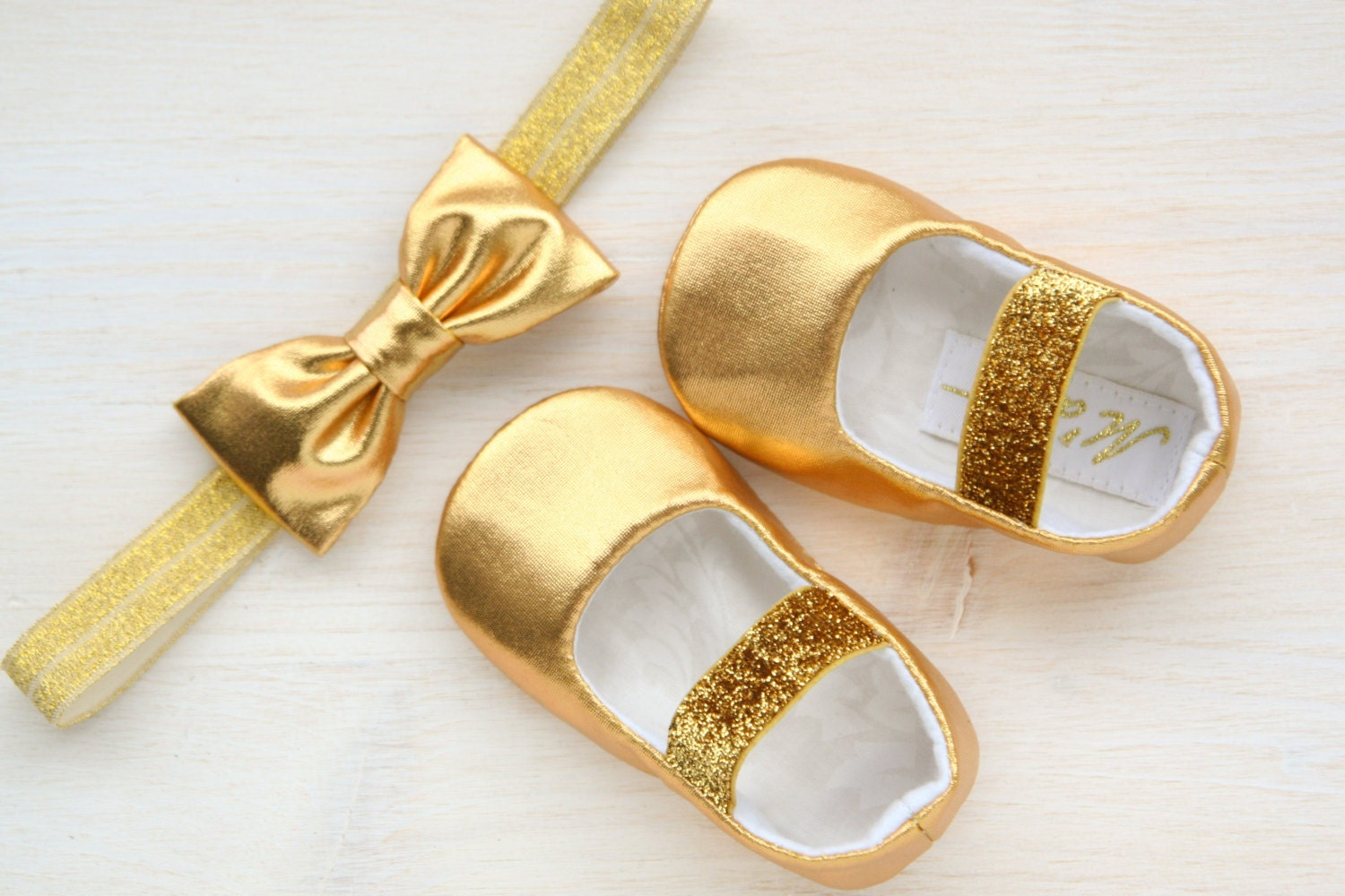 Gold Baby Shoes Glitter Girl Headband