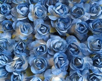 Set of 12 blue ombre Mulberry Paper Flowers