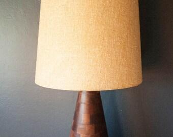 Vintage Walnut Block Lamp