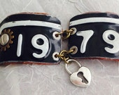 "Michigan, License Plate, Bracelet ""1979"" Industrial Chic, Cuff, Bracelet, Car Enthusiast. By: Kari Wolf Designs"