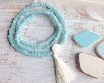 tassel bracelet, bohemian jewelry, wrap bracelet , beachcomber shell bracelet