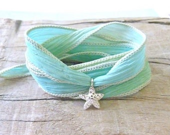 hand dyed silk wrap bracelet , sea glass colour sterling silver starfish bracelet