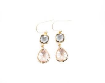 Grey and peach teardrop earrings
