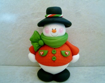 LARGE Snowman - Polymer Clay - Holiday - Figurine
