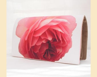 clutch bag with single red rose digital print, handmade evening bag with taupe faux suede interior, optional personalisation