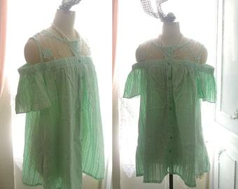 SALE Boho Bohemian Mint Green Pastel Butterfly Sleeves Off Shoulder Sheer Lace Cotton Pleated Short Dress, Cute Lovely Fresh Sundress