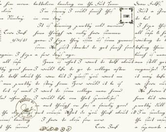Letter Stitch - Written Letter Panel in Cream - Janet Wecker Frisch for Quilting Treasures - 1649-24057-E - 1/2 yard