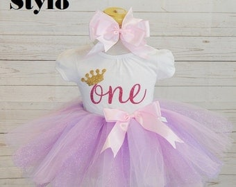 First birthday outfit,FREE SHIPPING, birthday outfit, baby tutu,one birthday, gold crown, princess crown, gold bow.