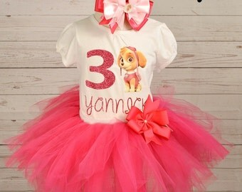 girl paw patrol birthday outfit,FREE SHIPPING,birthday girl outfit, paw patrol birthday tutu,hot pink tutu,girl birthday outfit