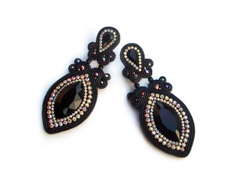 Soutache Burlesque classic earrings - elegant, unusual and perfect for the evening - Ritz Black