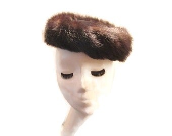 Vintage Mink Pillbox Cocktail Hat 1950s