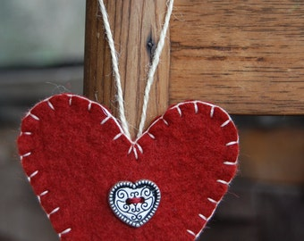 Wool felt heart hanger