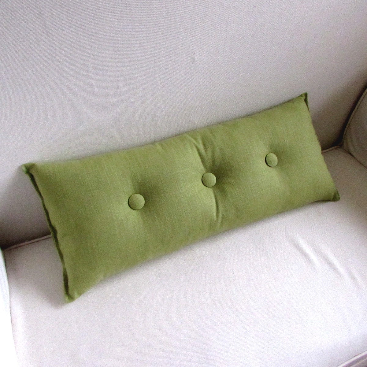 decorative lumbar pillow in PEAR GREEN with Pear Green buttons