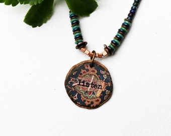 Mixed Media Necklace, Mixed Media Jewelry, Inspirational, Listen, Pendant Necklace, Beaded Necklace, Blue, Short Necklace, Beaded Jewelry