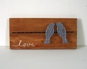 Love Bird STRING ART shelf sitter - spring string art - love string art - wedding string art