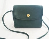 Coach bag - Small Green Leather Crossbody Bag Chrystie Style with twist-turn gold lock
