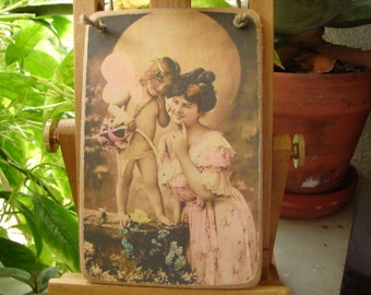 French Victorian lady mother with angel, cherub, cupid  tinted photo image on shabby chic wooden tag