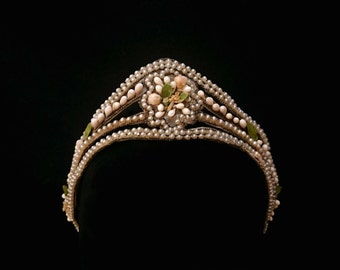 ANTIQUE French wax orange blossom, seed pearl BRIDAL TIARA, Victorian Crown, Pearls, Orange Blossom, Wedding Jewellery, Head Adornment
